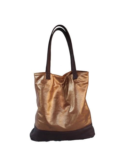c8f2088ebaa3 Two Tones Bronze and Dark Brown Leather Tote Bag - Metallic Shoulder ...