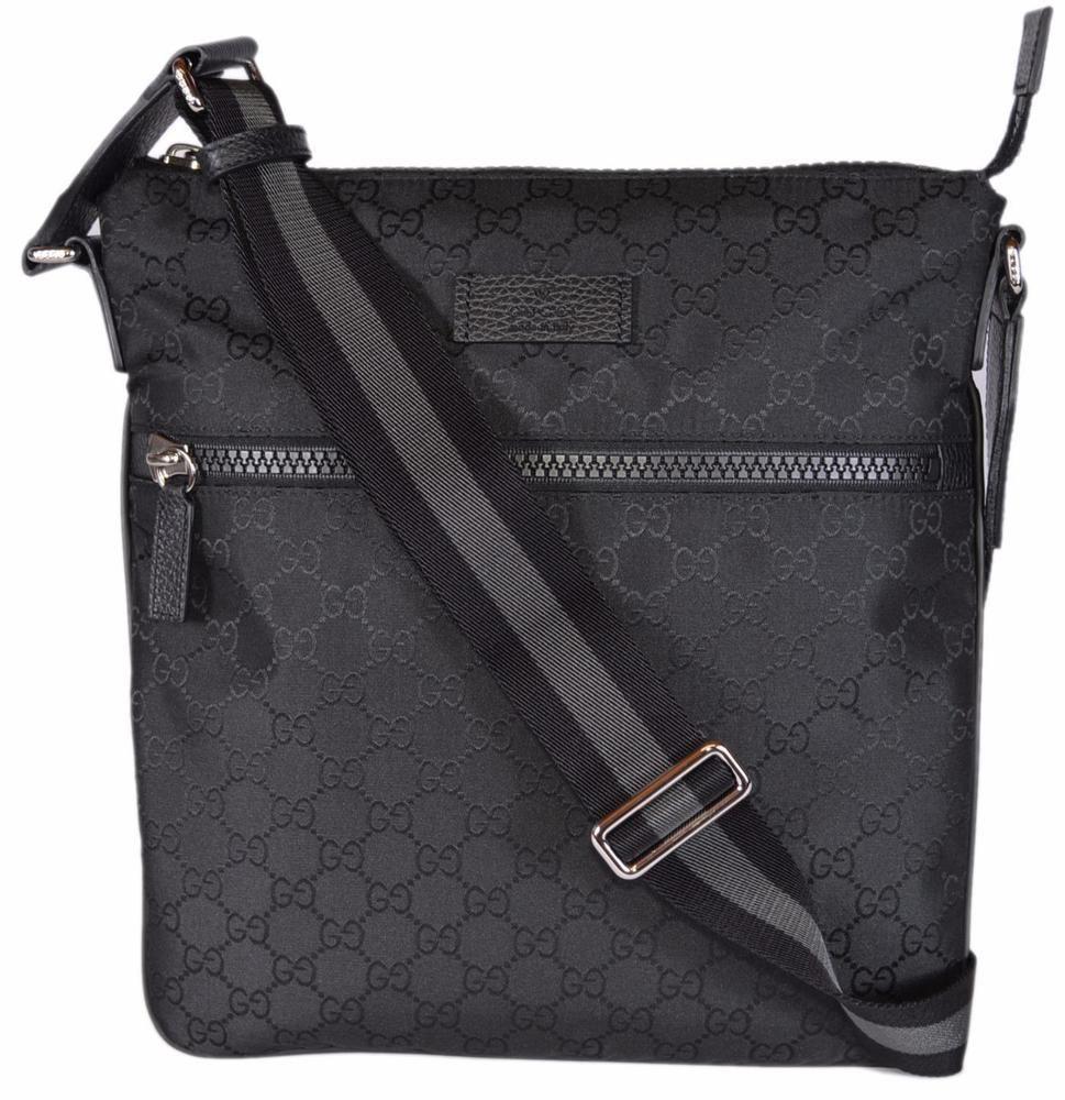 fb940ed4e NEW Gucci 449184 Black Nylon GG Guccissima Web Trim Crossbody Messenger Bag  #Gucci #MessengerCrossBody