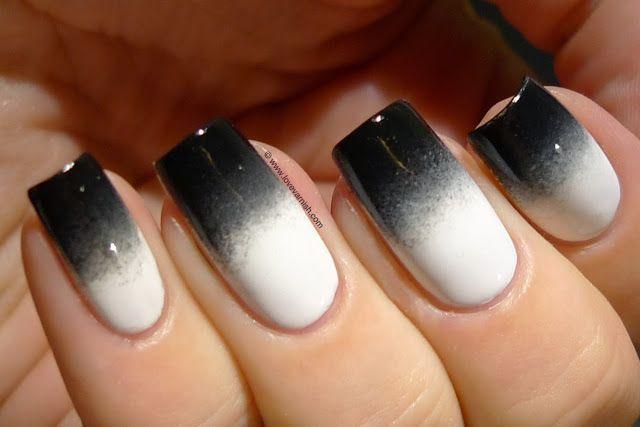 Black White Gradient White Nails White Acrylic Nails Black Ombre Nails