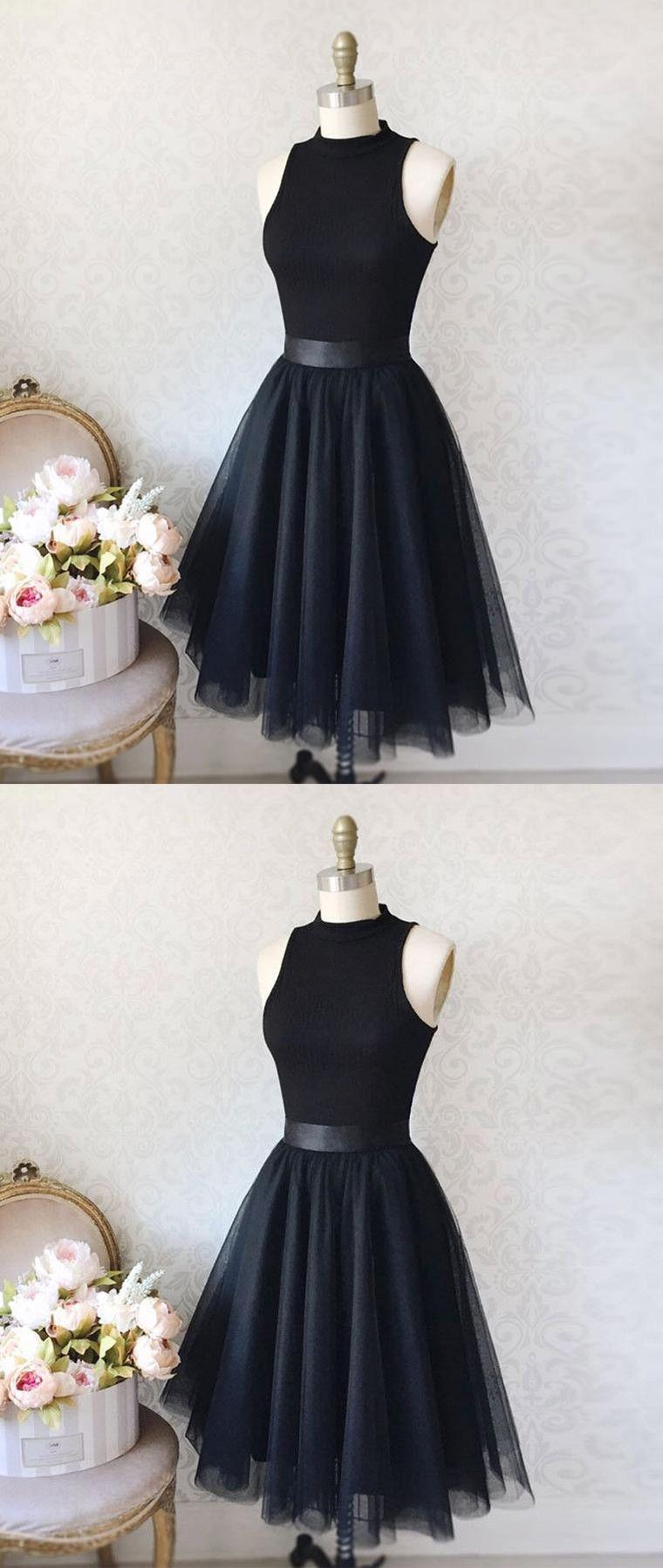 Vintage aline high neck sleeveless kneelength black homecoming