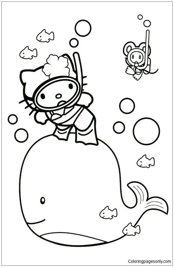 Hello Kitty With A Whale Coloring Page | Hello Kitty Coloring ...