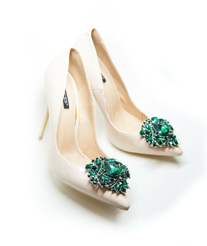 Green Crystals Shoe Clips Emerald Shoes Shoe Clips Bridal Shoes