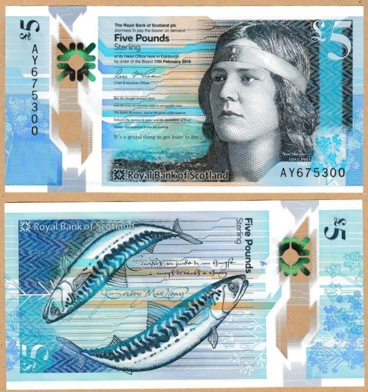 Royal Bank Of Scotland 5 Polimero Uncirculated Emitido 27 De Octubre De 2016 Qwc Nuevo Billetes De Banco Billetes Del Mundo Papel Moneda