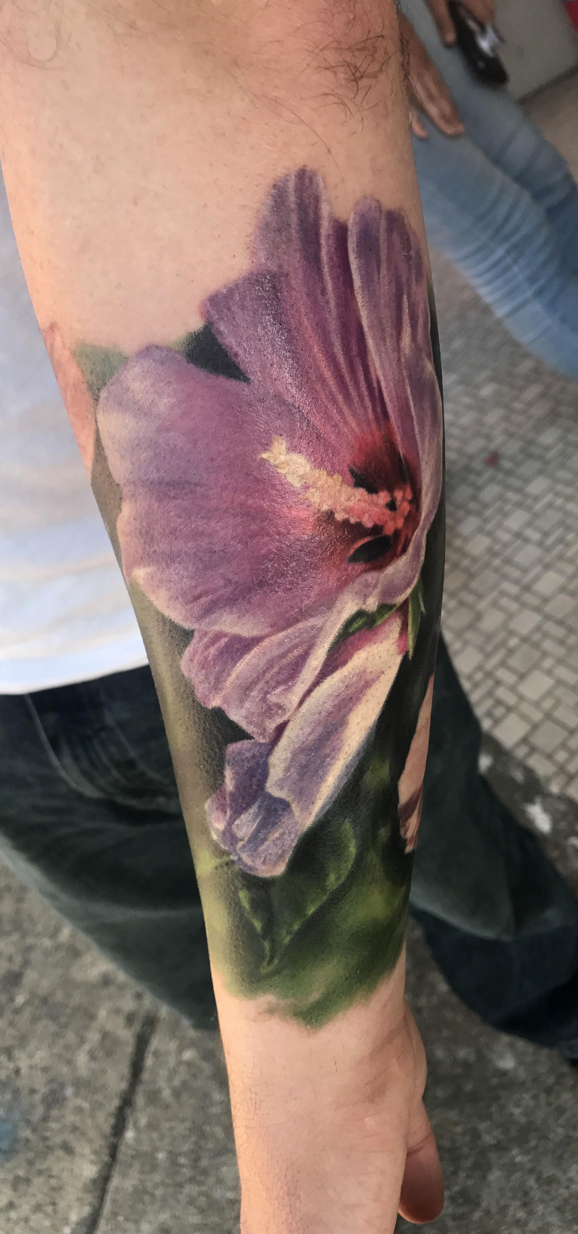 Purple Hibiscus Tattoo By Amber Joy Of 546 Tattoo Studio In Norwalk