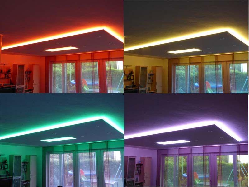 Indirekte Rgb Led Strip Beleuchtung Fur Eine Abgehangte Decke Beleuchtung Wohnzimmer Decke Led Deckenbeleuchtung Deckenbeleuchtung