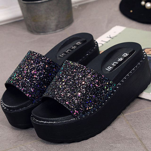 2017 Summer Women Sandals Woman Slippers Fashion Ladies Slippers wedge Flip  Flops Designer Slides Beach Platform Shoes -in Slippers from Shoes on ... 720cde3ecbf5