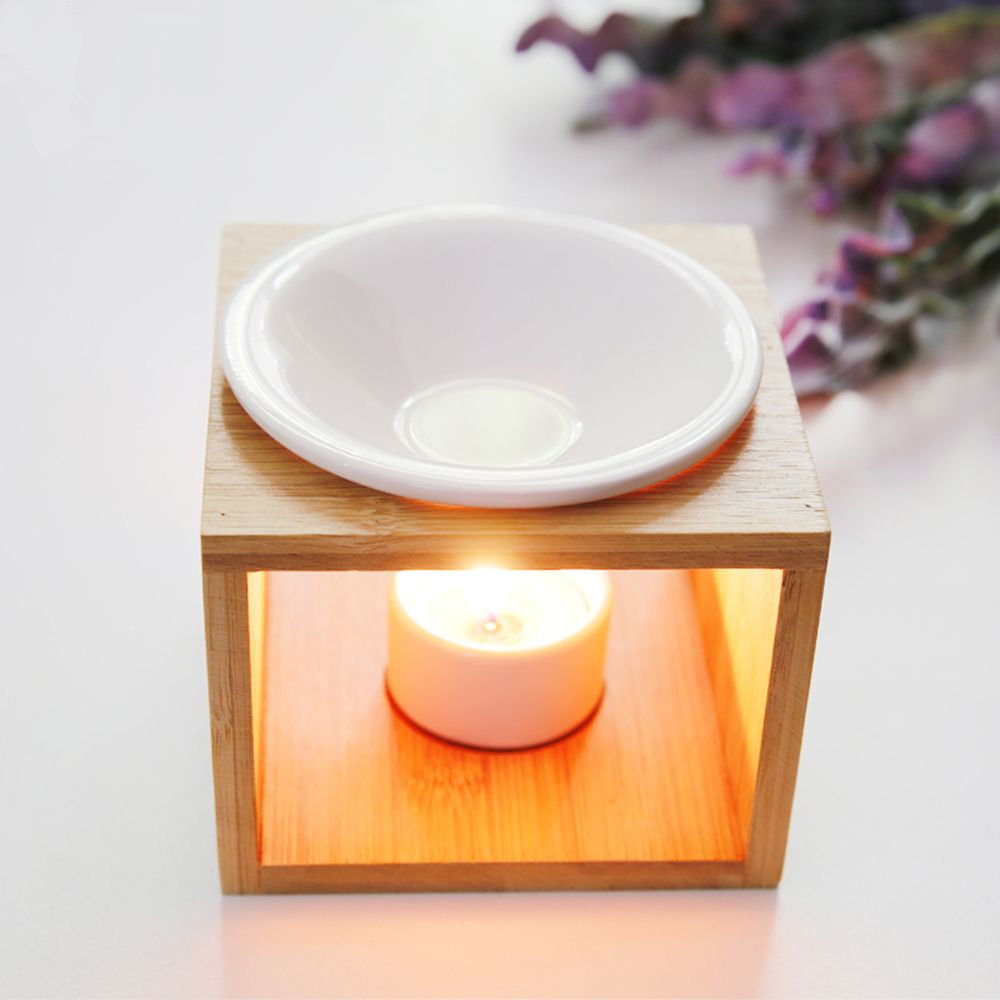 Natural Bamboo Candle Heating Ceramic Burner Aroma Burner ...