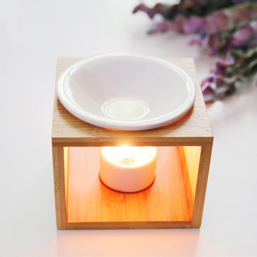 Natural Bamboo Candle Heating Ceramic Burner Aroma Burner