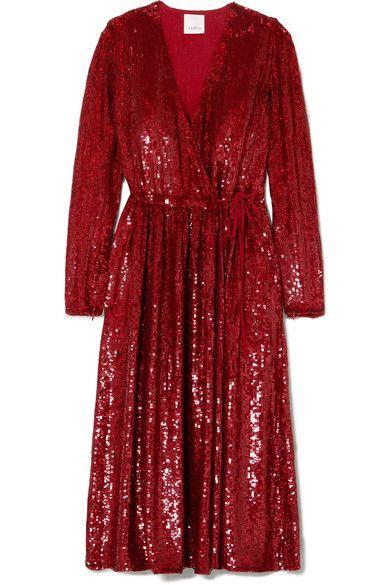 Sequined Silk-georgette Wrap Dress - Red Ashish AuTyTpsj