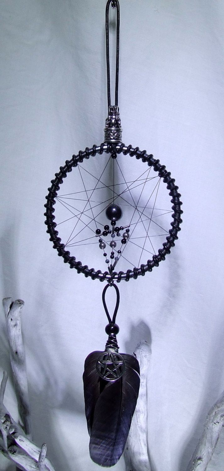 Goth Wicca Wall Hanging Dreamcatcher Celtic Dragon Pentagram ...