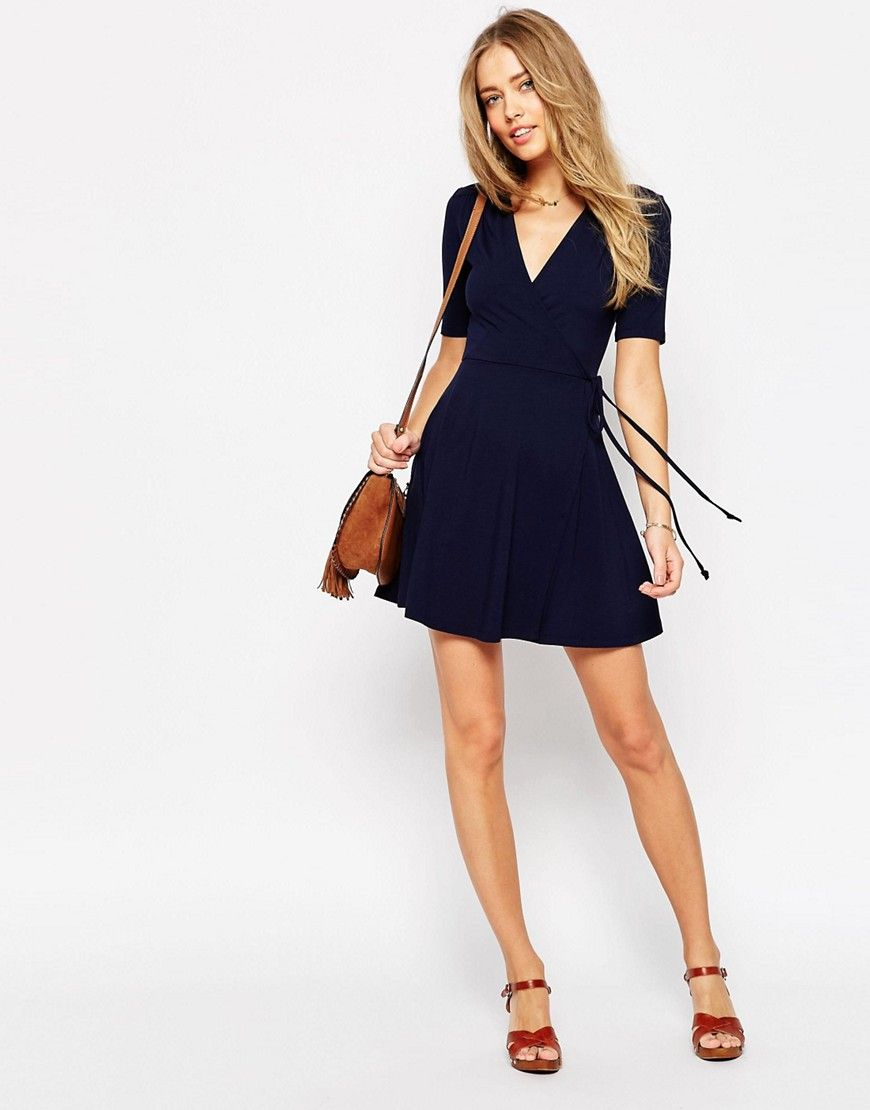 e806e562f6a3 ASOS Mini Tea Dress with Wrap Front $33 | Sarah | Dresses, Asos, Fashion