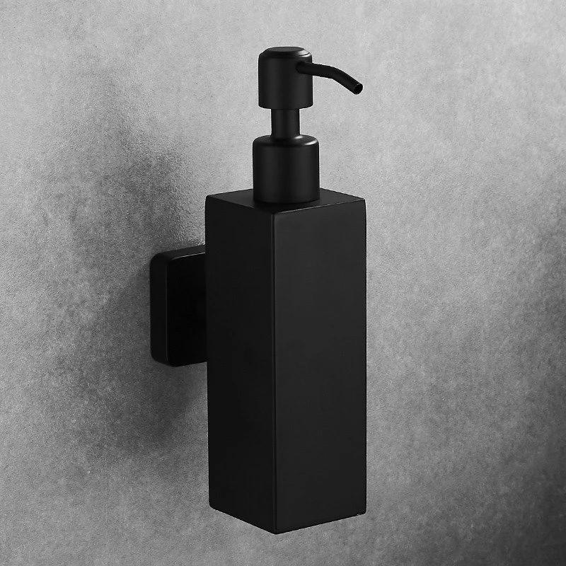 Matte Black Stainless Steel Liquid Soap Dispenser For Bathroom