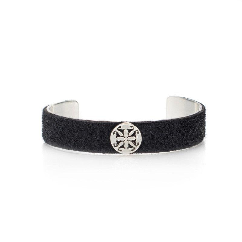 "Calfskin Black .5"" Silver with Silver Logo"