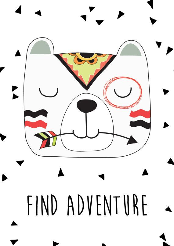 Tribal Bear Print Nursery Prints Kids Room Wall Art A4 Print 8x10 Print Find Adventure Tribal Bear Animales Tribales Laminas Para Cuadros Dibujos De Animales