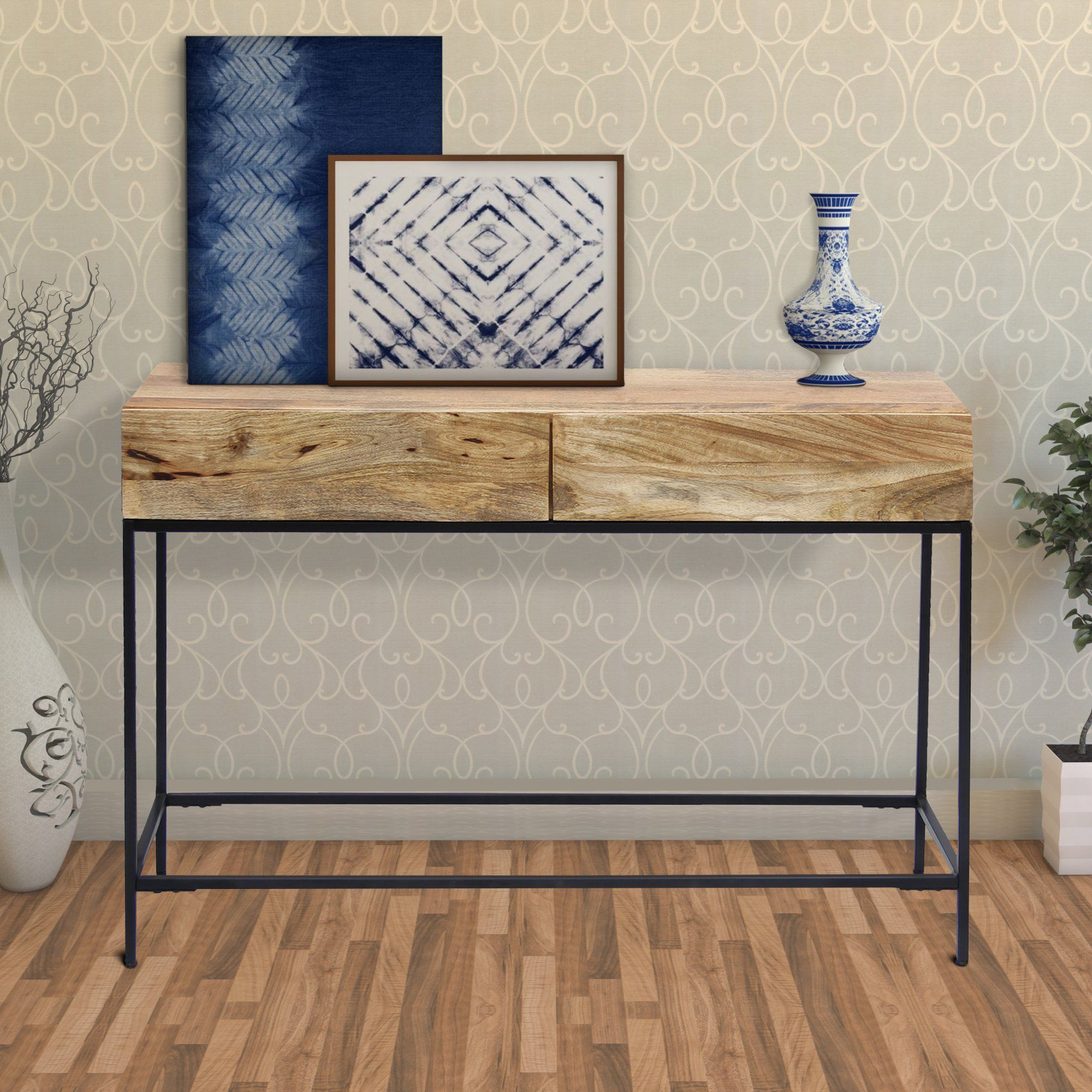 Mango Wood And Metal Console Table With Two Drawers Brown Upt 39270 Metal Console Table Wood Console Table Wood Console