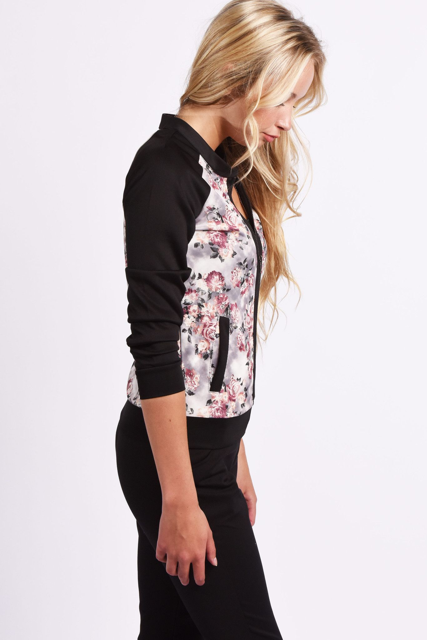 Midnight Garden Floral Bomber Jacket #25-75 #bomber #floral #jackets #l #m #pockets #print #raglan #rose #rosy #s #spring #summer #women #womens #zip