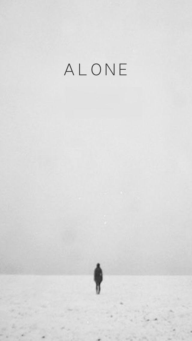 Walking Alone Vast Winter Field Scene iPhone Wallpapers