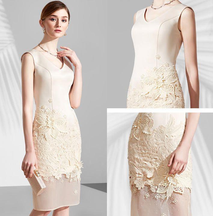 492fa0001336c robe champagne de soirée mi longue jupe florale en dentelle   Robe ...