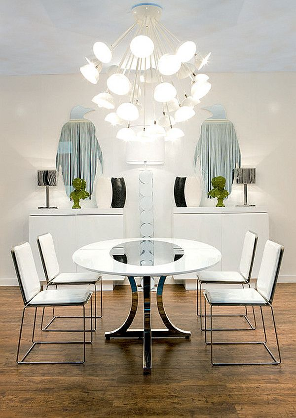 Modern Art Deco Dining Room With Round Table And White Chairs Miami Style