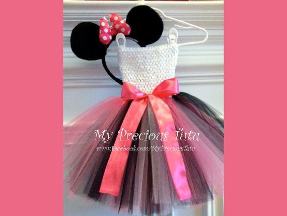 Minnie Mouse Tutu Dress with Minnie Ears by MyPreciousTutu on Etsy, $60.00