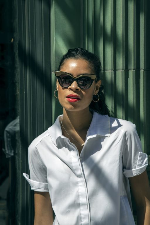 Aluna Francis from British Electronic Duo AlunaGeorge spotted in a white Shirt from the Hilfiger Collection Spring '14.