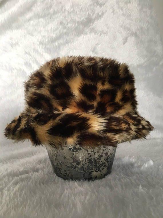 180bd03cdd3f6 Faux leopard fur bucket hat - Sold on Etsy.