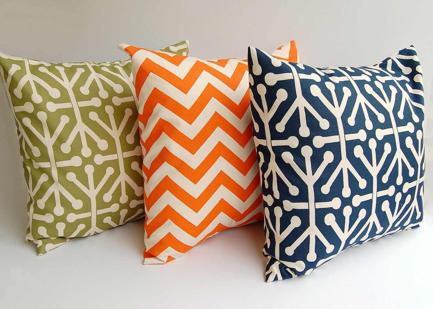 Blue Green Orange Throw Pillows : Throw pillows set of three 16 x 16 inches decorative pillow covers natural orange navy blue ...