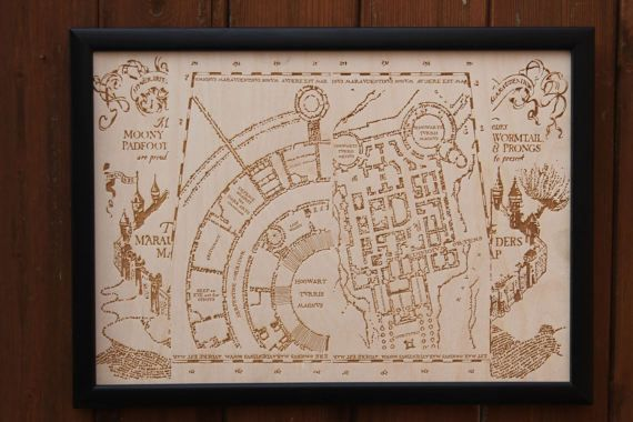 Wooden Marauders Map  Engraved into Wood Harry Potter