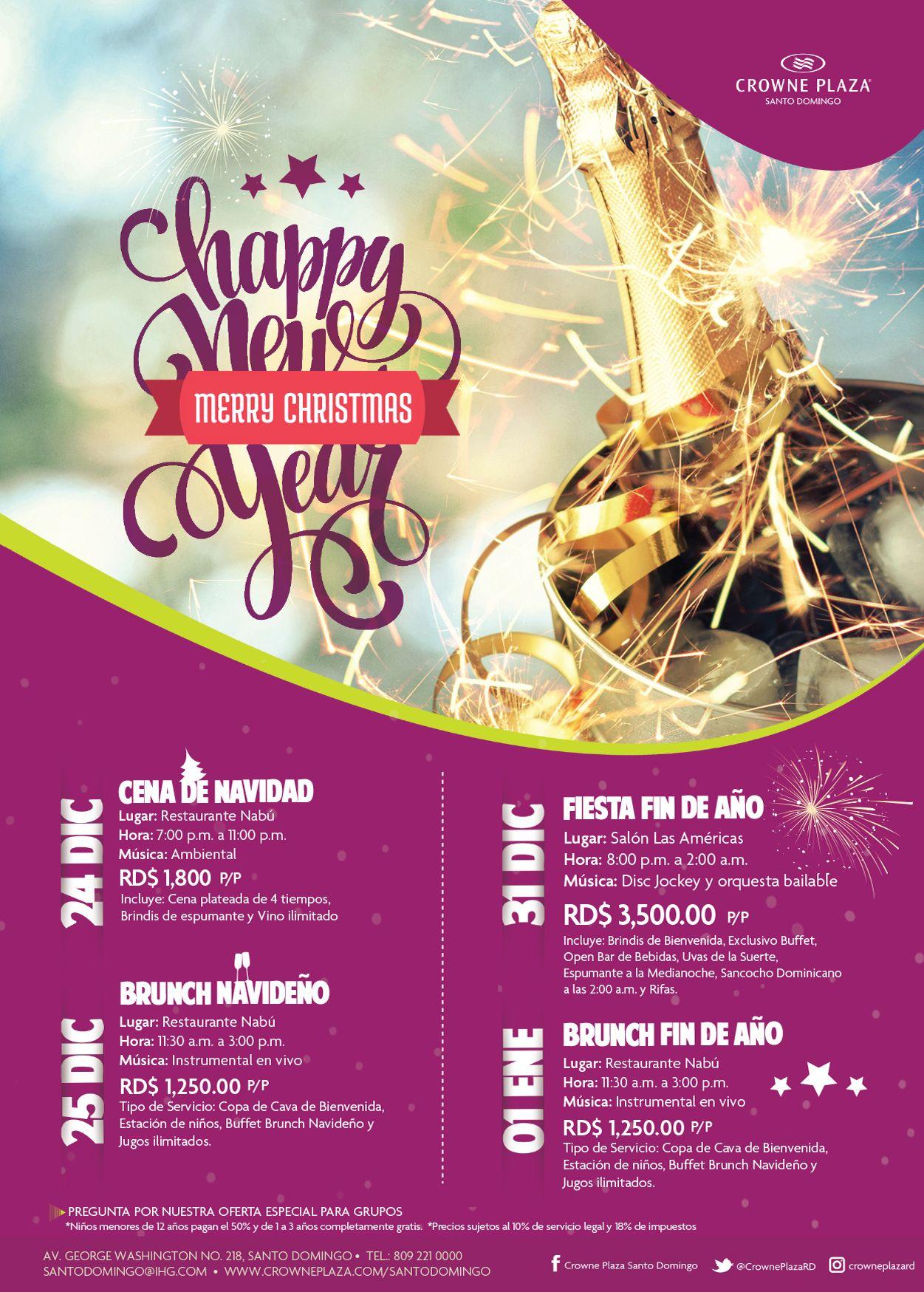 Todavía estás a tiempo, celebra el 24 y el 31 con nosotros! #Navidad #FindeAño #CrownePlazaStyle #HotelenSantoDomingo