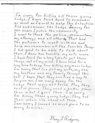 Gary Ridgway The Green River Killers apology letter History