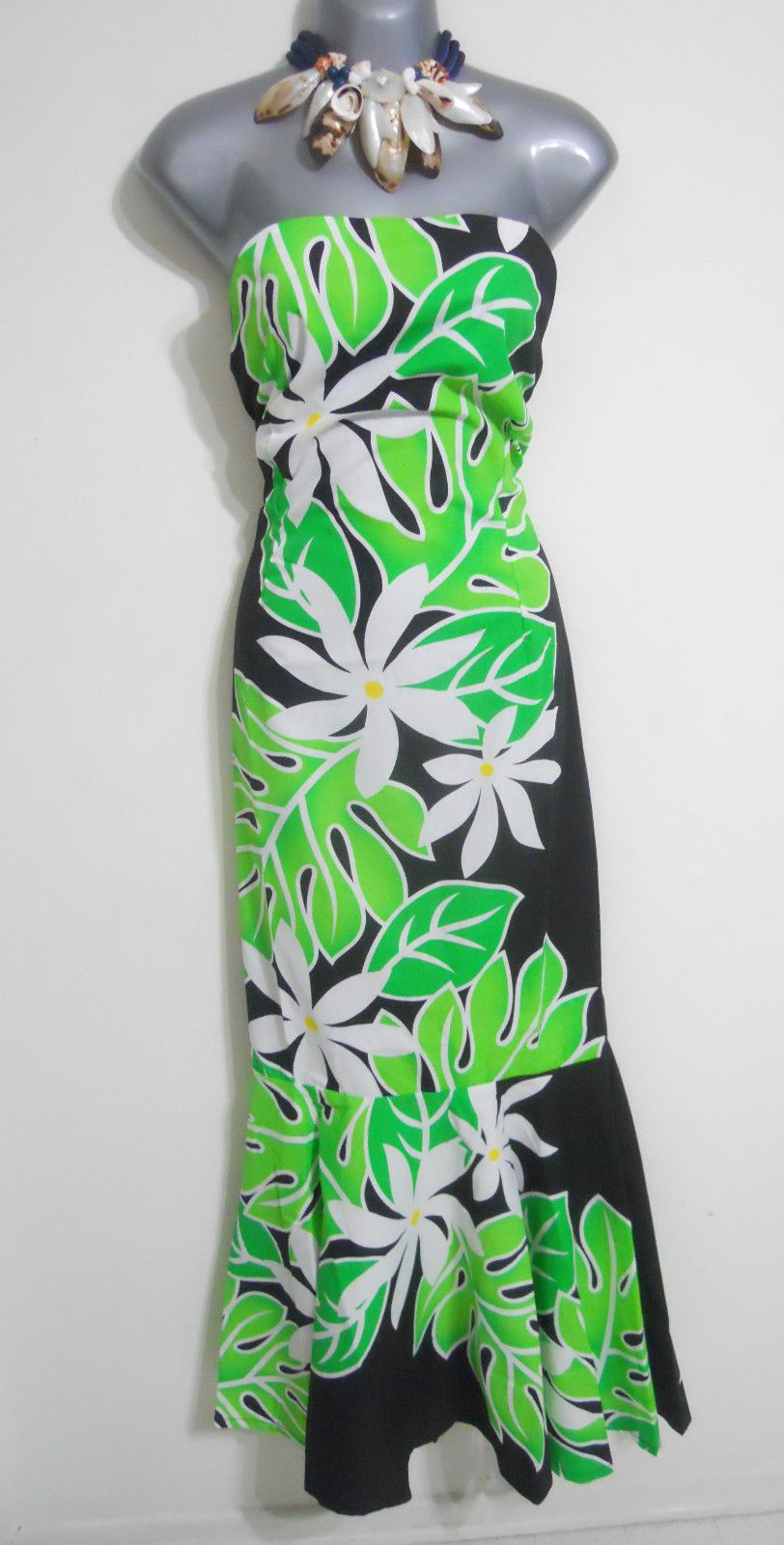 Green Black Strapless Hawaiian Muumuu Dress Sz 10 Floral Hawaii Long ...