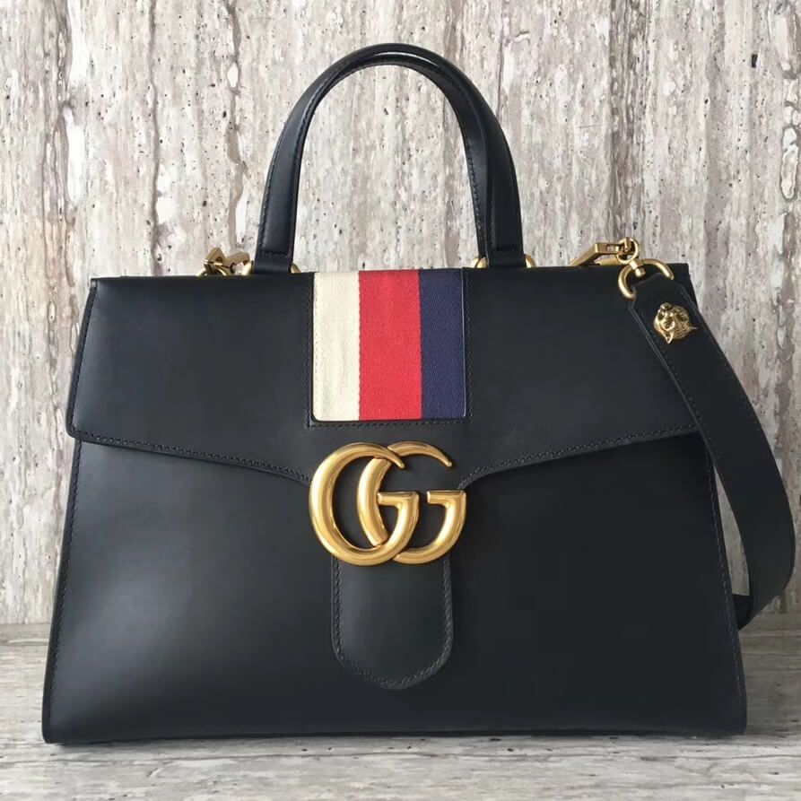 e96afa8fafcf47 Gucci Web GG Marmont Top Handle Bag 100% Authentic | Real Gucci Wallets