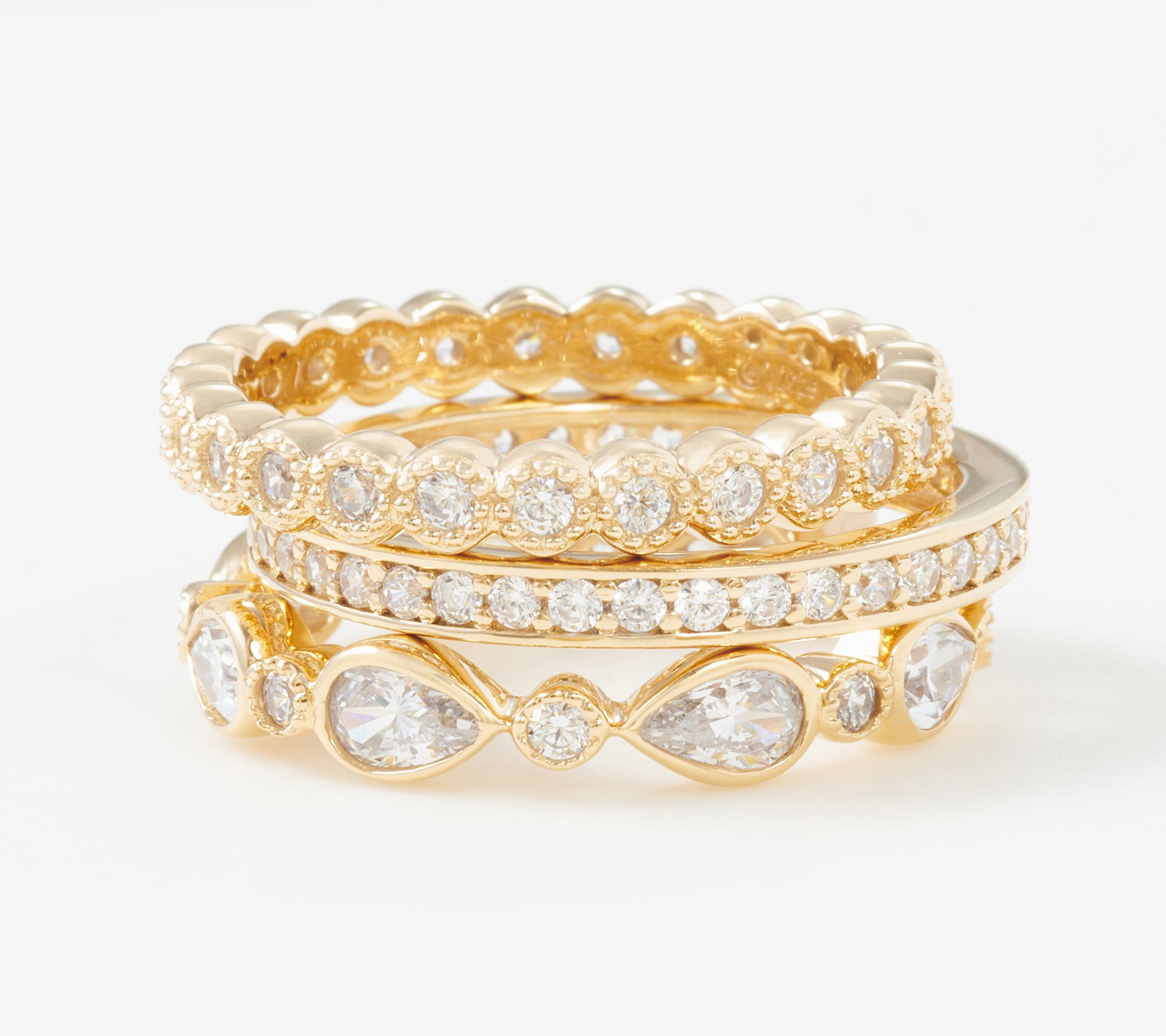 Diamonique set of 3 stackable rings sterling silver qvc