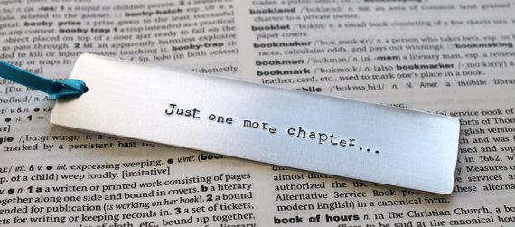 Metal Stamped Personalised Bookmark Just One More by MauveMagpie