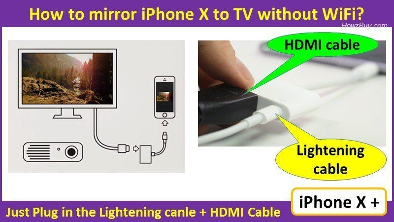 How to mirror iphone x to tv without apple tv wired