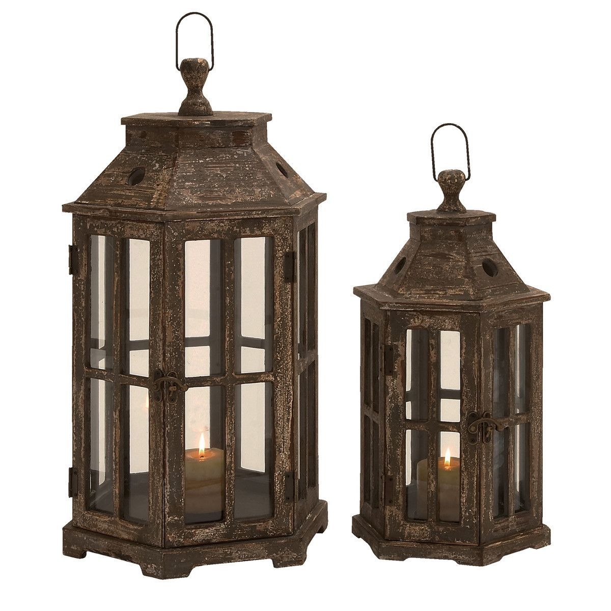 glass panels Vintage Copper and wood Lantern