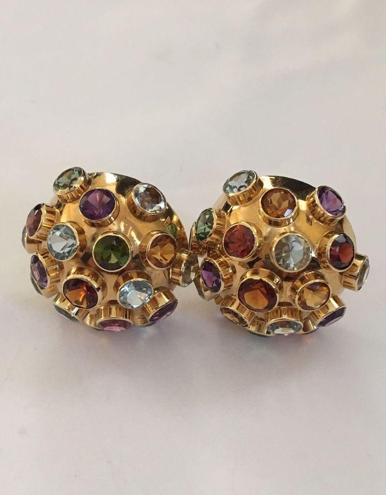 Vintage 14k Yellow Gold Sputnik Gemstone Earrings H Stern Style Ebay