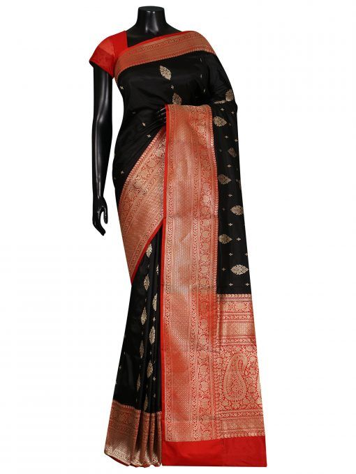 020c101c513445 Black Zari Booti Contrast Broad Border Pure Katan Silk Banarasi Saree  Sacred-Weaves