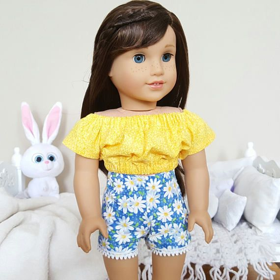 18 inch doll peasant blouse &a shorts | yellow peasant blouse | floral shorts