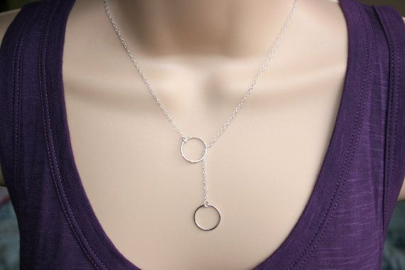 Sterling silver karma circle lariat necklace. by KattrinDesign