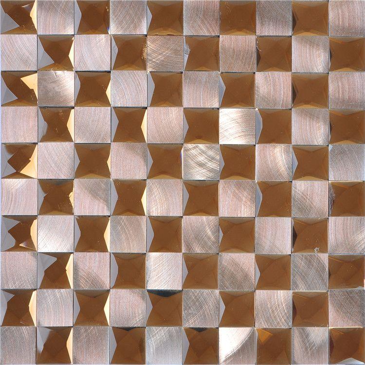 Diamond Mosaic 13 Face gold Mirror Glass mix metal Tiles