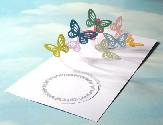 Butterfly Card Spiral Pop Up Butterfly 3d Card Pop Up Cards Cards Handmade Butterfly Cards