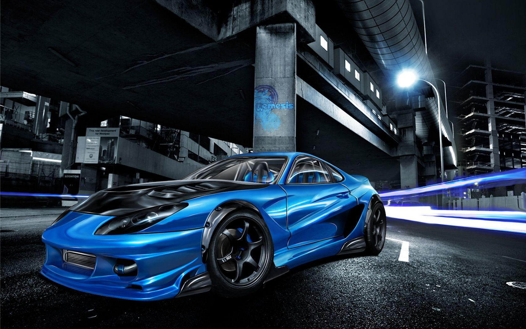 Wallpaper Street Race Car Wallpapers Hd Wallpapers 1680 X 1050 Px Best Racing Cars Blue Car Car Wallpapers