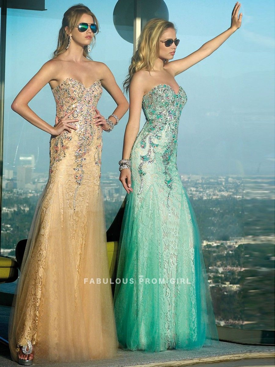 Sheath column beading tulle prom dresses evening dresses gowns