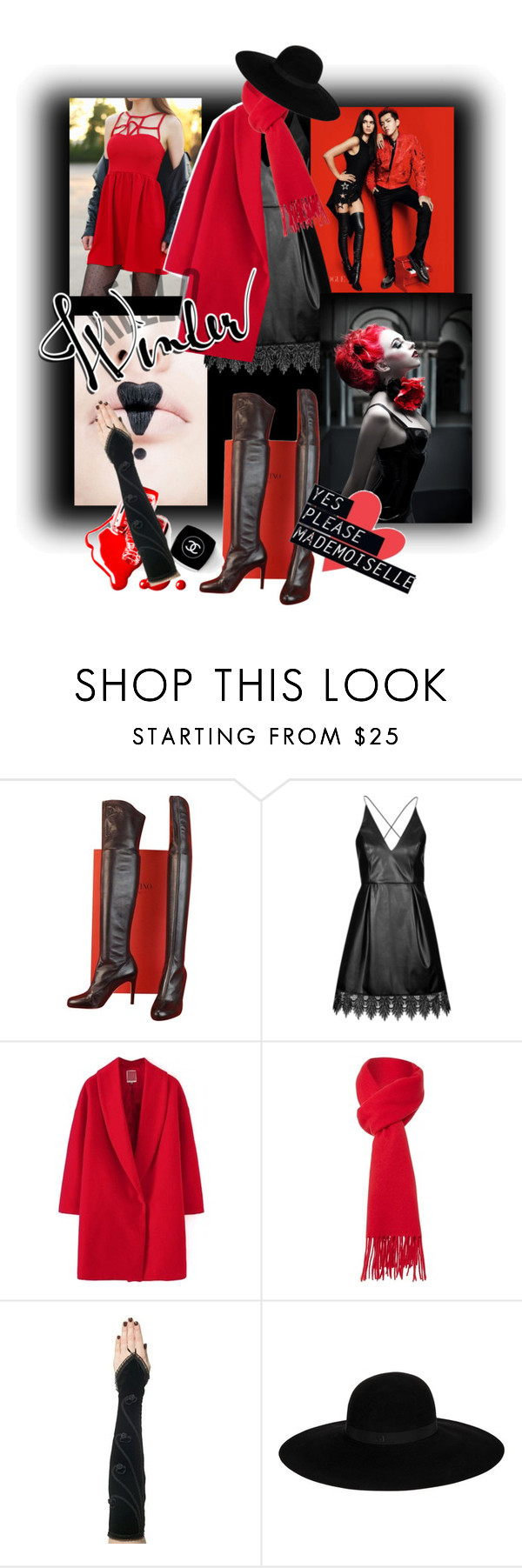 """""""Over the knee boots"""" by kari-c ❤ liked on Polyvore featuring Valentino, KRISVANASSCHE, Topshop, Chanel, Boutique Moschino and Maison Michel"""