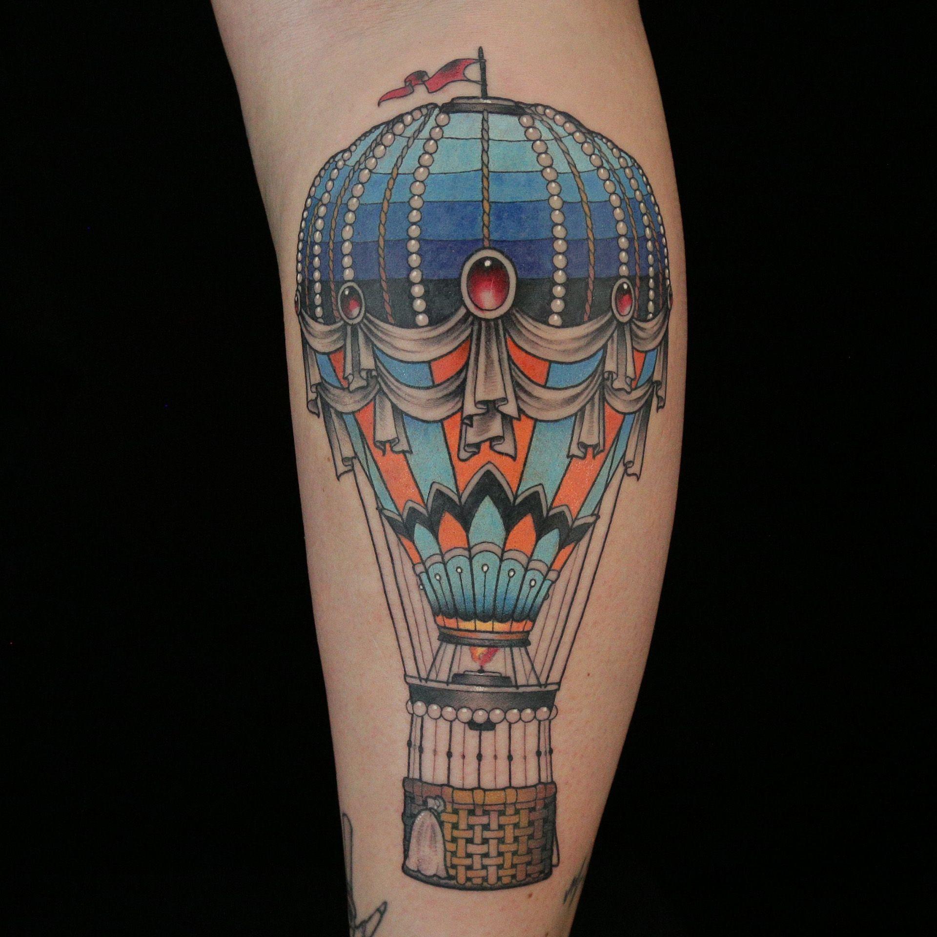 Technicolor Hot Air Balloon Tattoo By Daniel Silva Air Balloon Tattoo Hot Air Balloon Tattoo Balloon Tattoo