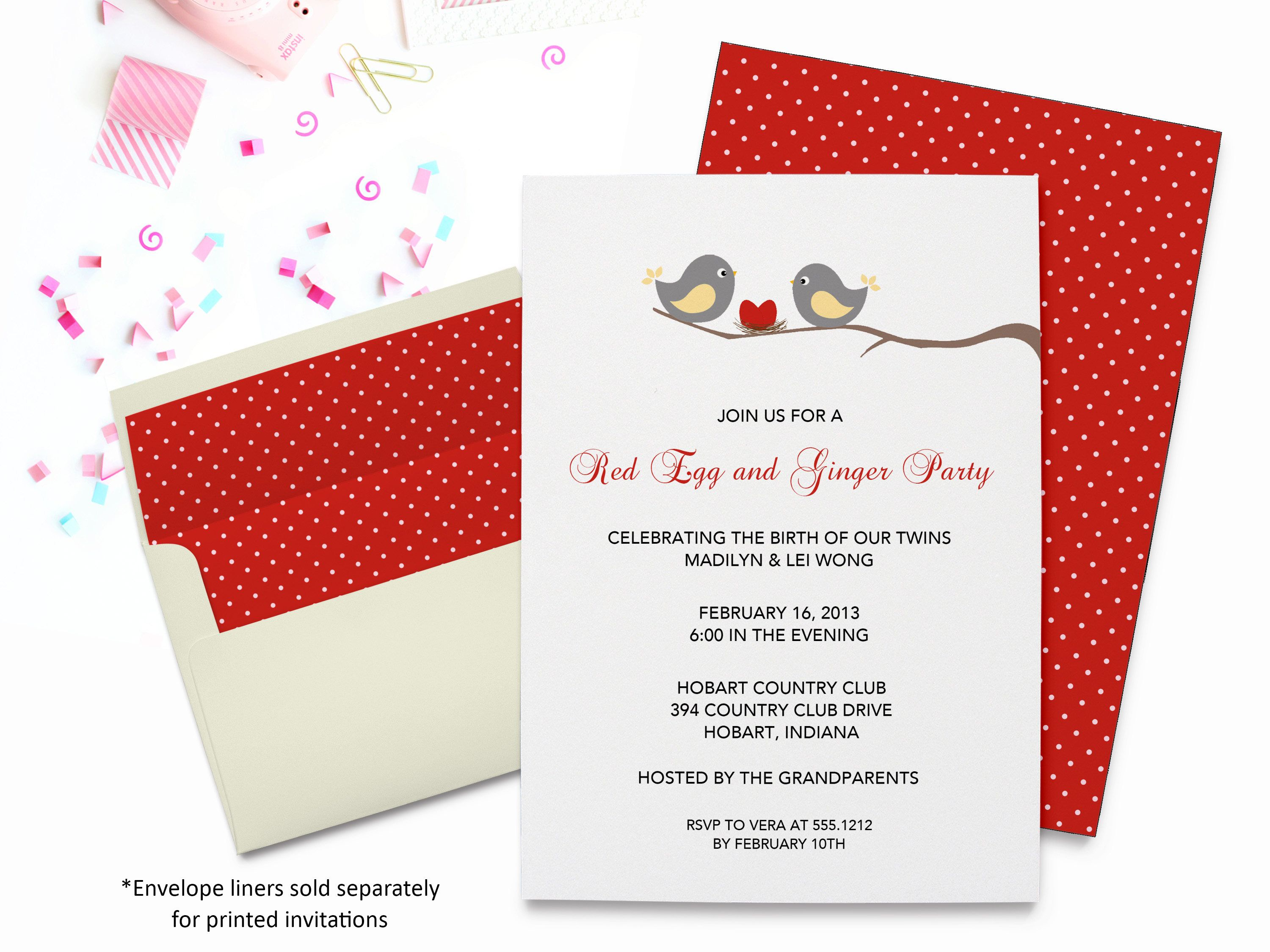 Red Egg & GingerTwins Invitation | Baby Shower | Printable Digital ...