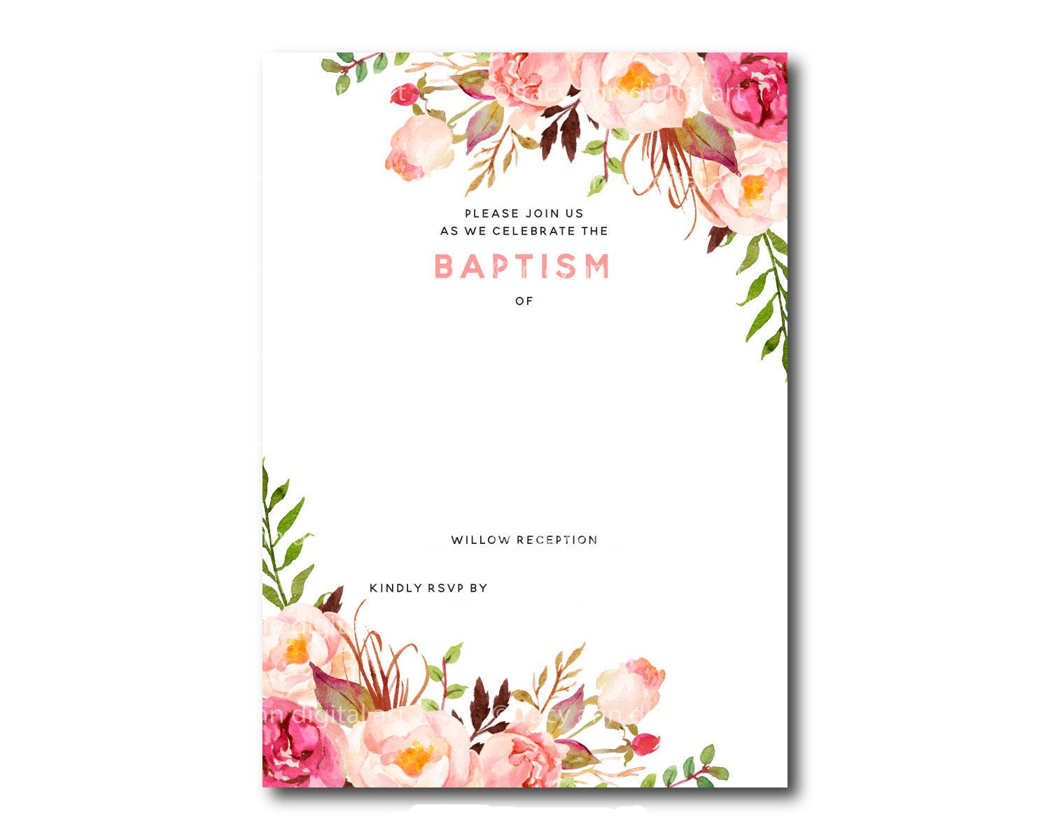 Awesome Free Template Free Printable Baptism Floral Invitation