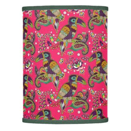 Tropical Bird Pattern Hot Pink Lamp Shade   Flowers Floral Flower Design  Unique Style