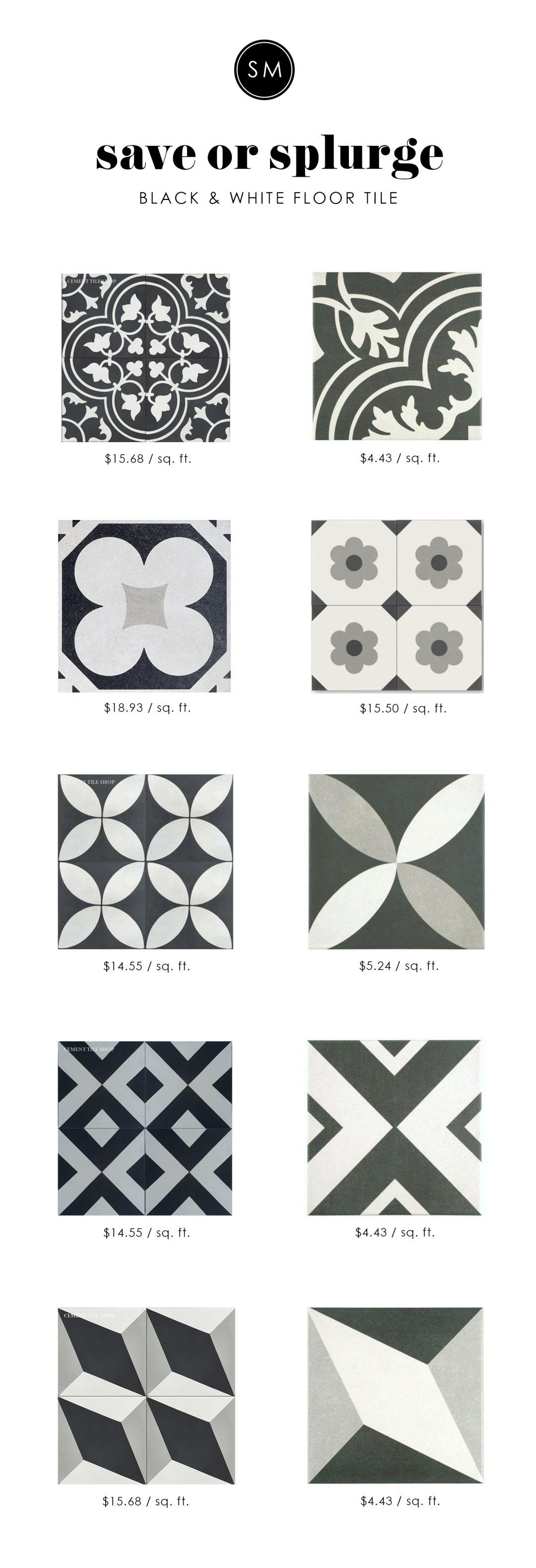 Save or splurge black white floor tile wall tiles cement and save or splurge black white floor tile dailygadgetfo Image collections